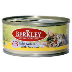 Консервы для кошек Berkley #13 Rabbit & Beef with Zucchini Adult кролик и говядина с цукини 0,1 кг
